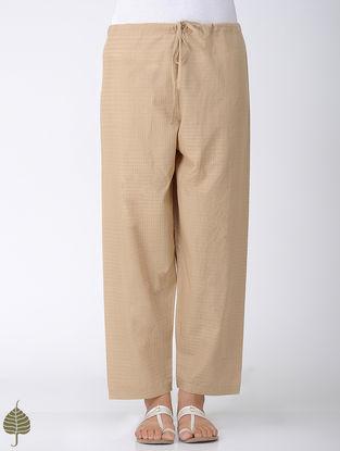 Beige Tie-up Waist Handloom Cotton Pants by Jaypore