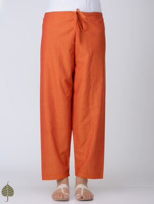 Orange Tie-up Waist Handloom Cotton Pants by Jaypore