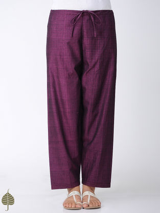 Purple-Black Tie-up Waist Handloom Cotton Pants by Jaypore