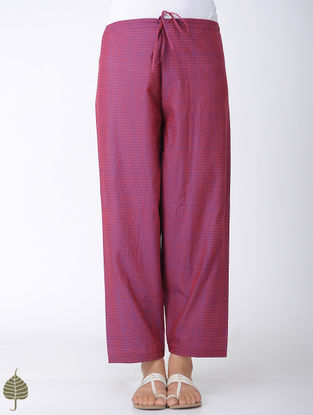 Pink-Blue Tie-up Waist Handloom Cotton Pants by Jaypore