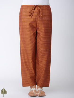 Brown Tie-up Waist Handloom Cotton Pants by Jaypore