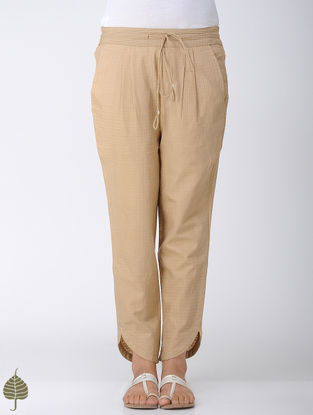 Beige Elasticated Tie-up Waist Handloom Cotton Pants by Jaypore