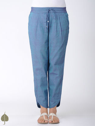 Blue Elasticated Tie-up Waist Handloom Cotton Pants by Jaypore