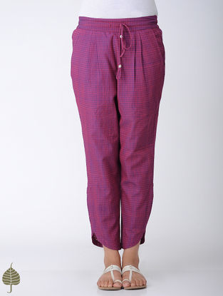 Pink-Blue Elasticated Tie-up Waist Handloom Cotton Pants by Jaypore
