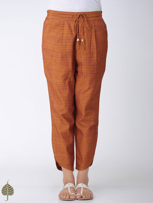 Brown Elasticated Tie-up Waist Handloom Cotton Pants by Jaypore