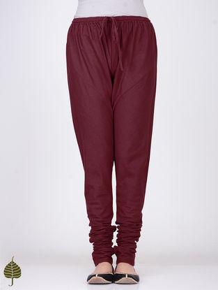 Maroon Elasticated Tie-up Waist Handloom Cotton Churidar by Jaypore