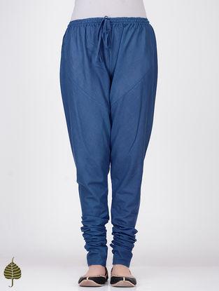 Blue Elasticated Tie-up Waist Handloom Cotton Churidar by Jaypore