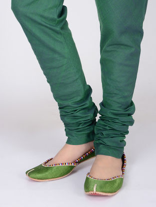 Green Elasticated Tie-up Waist Handloom Cotton Churidar by Jaypore