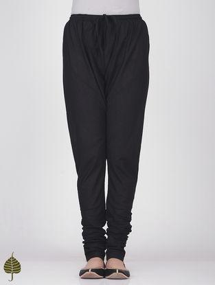 Black Elasticated Tie-up Waist Handloom Cotton Churidar by Jaypore