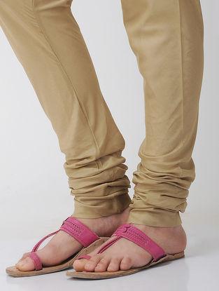 Beige Elasticated Tie-up Waist Cotton Churidar by Jaypore