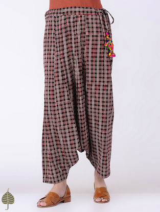 Madder-Black Tie-up waist Bagh-printed Cotton Harem Pants with Tassels by Jaypore