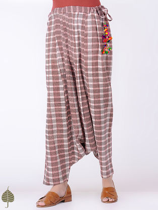 Ivory-Madder Tie-up waist Bagh-printed Cotton Harem Pants with Tassels by Jaypore