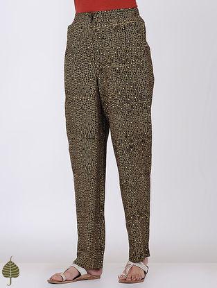 Brown-Mustard Elasticated-waist Ajrakh Cotton Trouser by Jaypore
