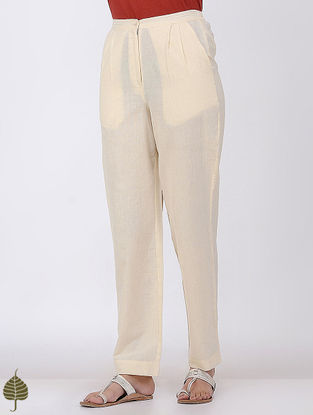 Ivory Elasticated-waist Handloom Cotton Doria Trouser by Jaypore