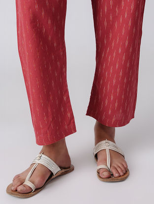 Red Tie-up Waist Handloom Cotton Ikat Pants by Jaypore