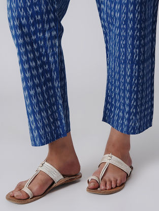 Blue Tie-up Waist Handloom Cotton Ikat Pants by Jaypore