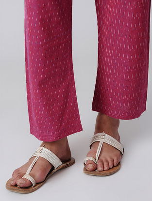 Pink Tie-up Waist Handloom Cotton Ikat Pants by Jaypore