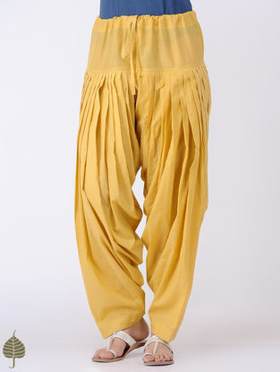 Yellow Tie-up Waist Cotton Patiala by Jaypore