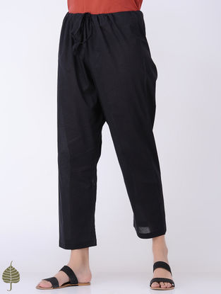 Black Tie-up Waist Cotton Pants by Jaypore