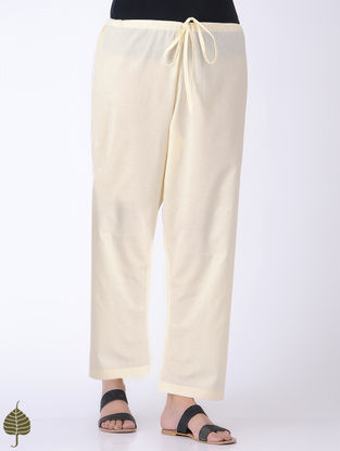 Ivory Tie-up Waist Cotton Pants by Jaypore