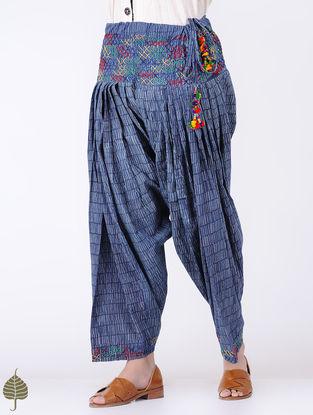 Indigo Tie-up Waist Block-printed Gurjar Salwar with Embroidery by Jaypore