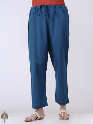 Indigo Tie-up Waist Cotton Pants by Jaypore