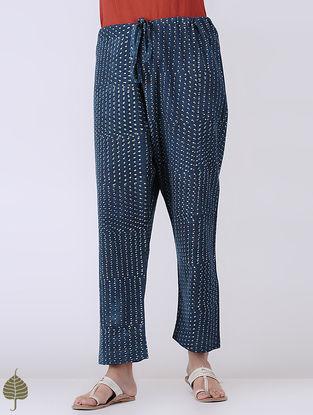 Indigo Block-printed Tie-up Waist Cotton Pants by Jaypore