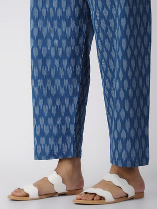 Blue -Ivory Tie-up Waist Handloom Cotton Ikat Pants by Jaypore