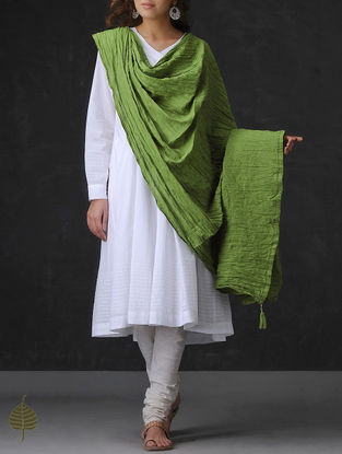 Green Crinkled Cotton Dupatta by Jaypore