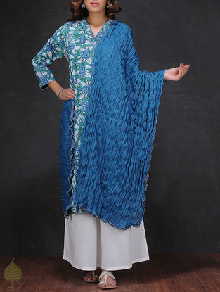 Blue Crinkled Cotton Dupatta