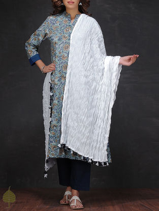 White Crinkled Cotton Dupatta