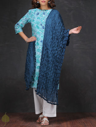 Blue Crinkled Cotton Dupatta