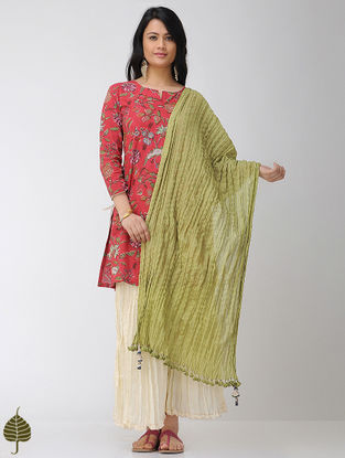 Olive Crinkled Cotton Dupatta with Tassels
