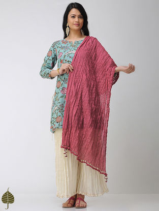Pink Crinkled Cotton Dupatta with Tassels