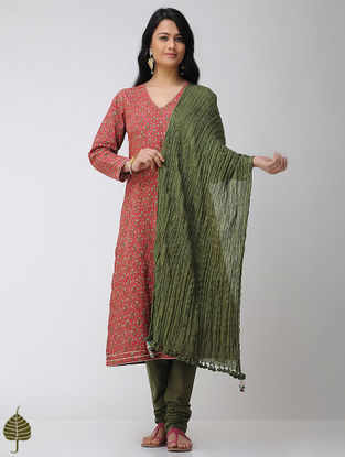 Green Crinkled Cotton Dupatta with Tassels