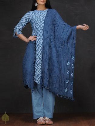 Indigo Applique Crinkled Cotton Dupatta by Jaypore