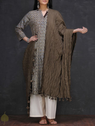 Grey Crinkled Cotton Dupatta