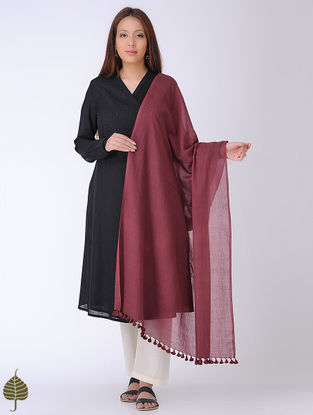 Maroon Cotton Dupatta by Jaypore