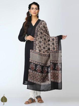 Black-Ivory Ajrakh Chanderi Dupatta by Jaypore