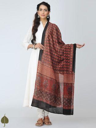 Madder-Black Ajrakh Chanderi Dupatta by Jaypore