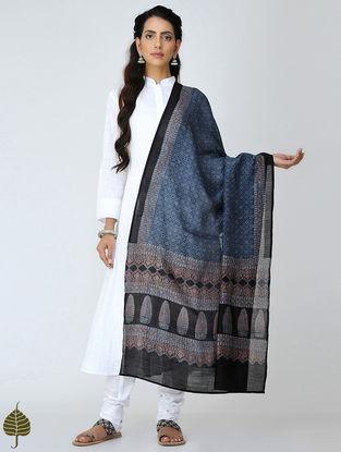 Indigo-Black Ajrakh Chanderi Dupatta by Jaypore