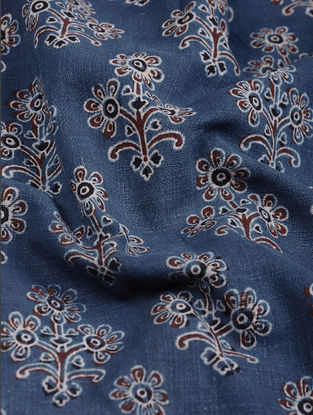 Indigo-Brown Ajrakh-printed Cotton Fabric