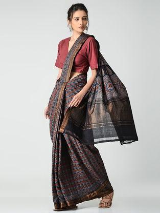 Red-Blue Ajrakh-printed Mangalgiri Cotton Saree with Zari Border