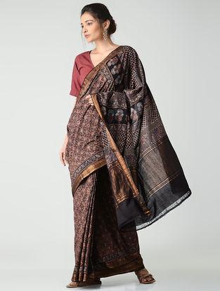 Black-Red Ajrakh-printed Mangalgiri Cotton Saree with Zari Border