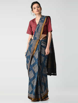 Blue-Ivory Ajrakh-printed Mangalgiri Cotton Saree with Zari Border