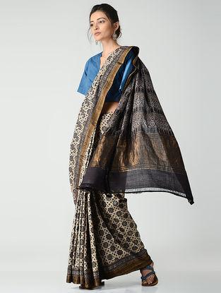 Ivory-Black Ajrakh-printed Mangalgiri Cotton Saree with Zari Border