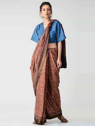 Red-Black Ajrakh-printed Mangalgiri Cotton Saree with Zari Border