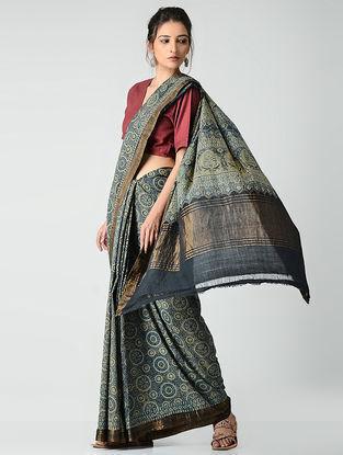 Blue-Green Ajrakh-printed Mangalgiri Cotton Saree with Zari Border