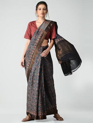 Blue-Red Ajrakh-printed Mangalgiri Cotton Saree with Zari Border