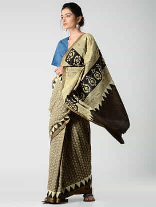 Beige-Black Ajrakh-printed Mangalgiri Cotton Saree with Zari Border